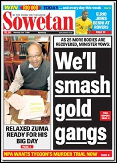 Sowetan We will Smash Gold Gangs June 3 2009