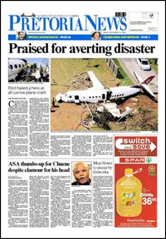 Jetstream 41 crash Durban Pilot Praised for Saving Residents