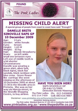Brits Danelle missing Sinoville 10Dec2009 Pretoria