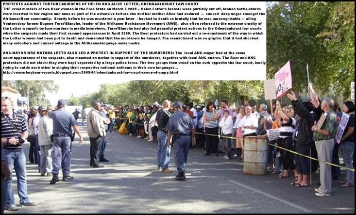 LotterWomenMurdersMar62009OdendaalsrustCourtProtestsANC_for_Murderers_Boers_Against