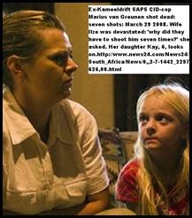 Greunen Ilze excop Marius murdered, child Kay looks on Beeld pic Alet PretoriusMarch312010