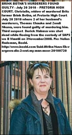 Botha Brink 53 murdered 3 Nov2008 WidowChristelleCourtGuiltyFindingJuly202010
