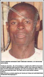 Kruger Marizaan baby basher Chakhoma Machaba sought in Mozambique April222010 Robindale Randburg