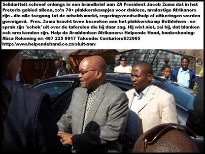 Zuma Pres Jacob bezoekt Afrikaner plakkerskamp Bethlehem bij Pretoria met Solidariteit vakbondsleden