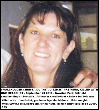 Du Toit Christa murdered with one head shot Sept 23 2010