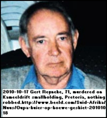 Reyneke Gert 71 murdered Kameeldrift smallholdings Oct172010 NOTHING ROBBED