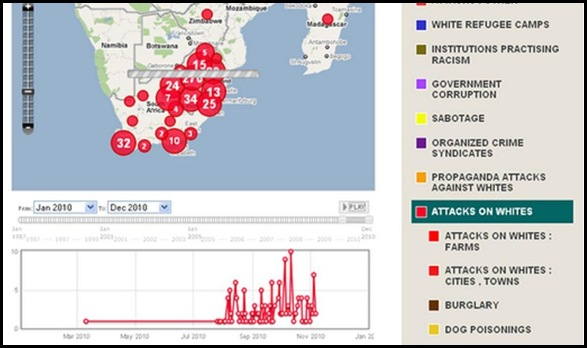 ATTACKS AGAINST WHITE SA SOAR TO TEN A DAY NOV 2010 FARMITRACKER MAP