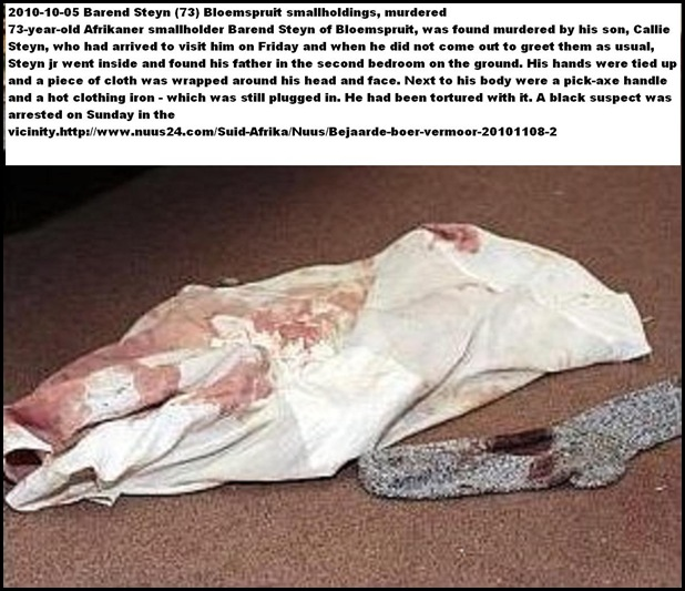 Steyn Barend 73 Bloemspruit smallholdings murdered Nov5 2010