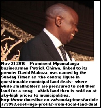 Chirwa Patrick director of Sure Travel Nelspruit controversial land deals...