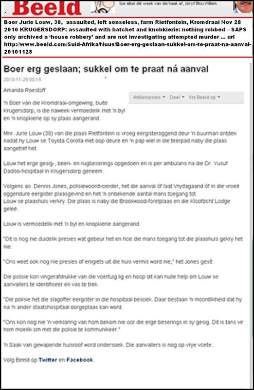 Louw Jurie Kromdraai Krugersdorp attack nothing robbed Nov282010 left comatose