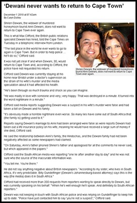 Dewani Shrien never wants to return to Cape Town where wife Anni was murdered