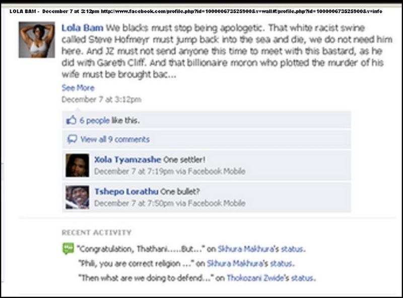 ANTI AFRIKANER HATESPEECH LOLA BAM VS STEVE HOFMEYER DEC7 2010 FACEBOOK PAGE