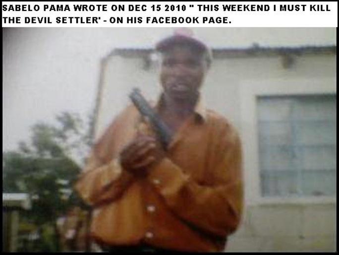 PAMA SABELO FACEBOOK HATESPEECH I MUST KILL THIS DEVIL SETTLER DEC 15 2010