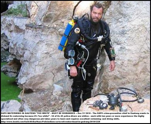 SAPS police diver recovering an Australian diver in Boesmansgat cave the world's deepest freshwater cave  Jan102004