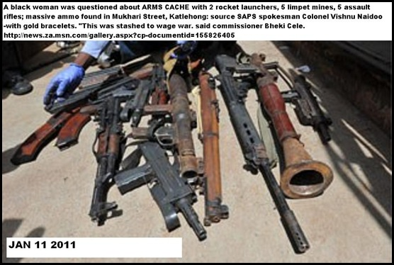 ARMS CACHE Katlehong Mukhari Street Jan122011 WOMAN QUESTIONED