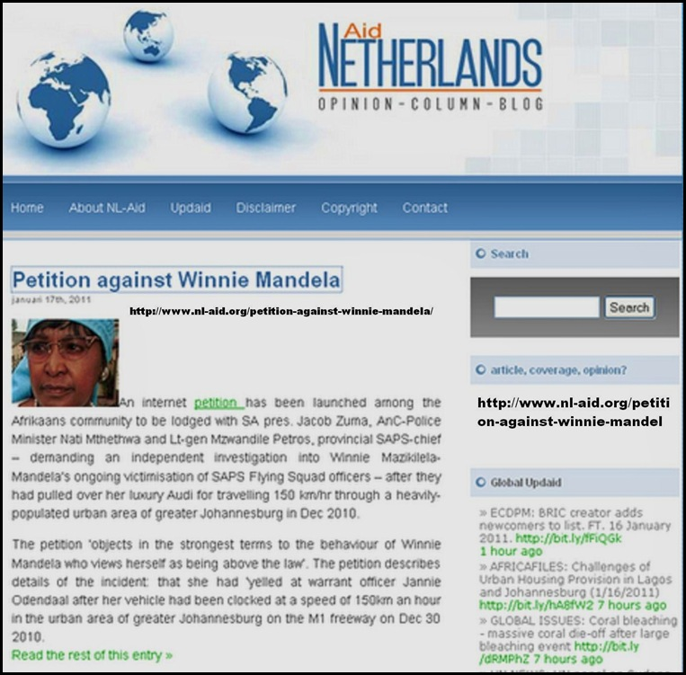 Mandela Winnie Petition www nl aid org petion against winnie mandela Jan172011