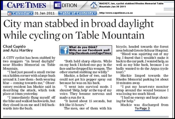 MACKEY Ian cyclist stabbed Rhodes Mem_TableMountain_Jan302011 CapeTimes