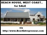BOER ENTREPRENEUR WEST COAST BEACH HOUSE FOR SALE