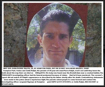 Ralph Jean_Pierre 20 mystery death Bredell Dam Kempton Park26May2010