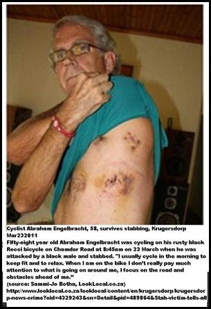 Engelbracht Abraham 58 cyclist stabbed 3 days in hospital Krugersdorp March232011