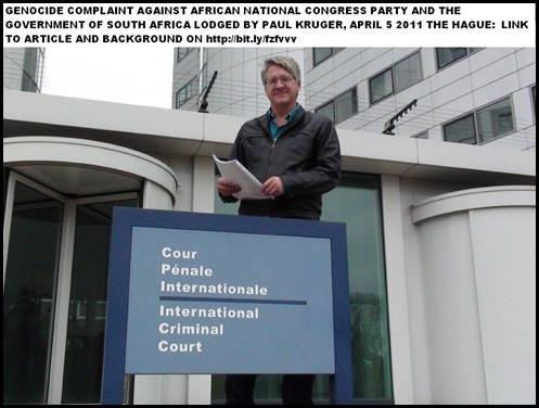 GENOCIDE CHARGE LODGED AT ICC BY PAUL KRUGER THE HAGUE APRIL 5 2011