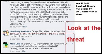 ANC THREAT ON FACEBOOK TO BRENDA VAN BUREN