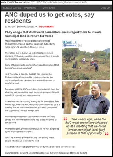 THABAZIMBI RESIDENTS URGED BY ANC TO INVADE LAND