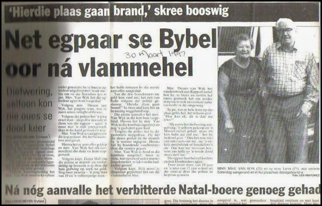 VanWyk couple attacked TORCHED IN HOMESTEAD VRYHEID 30 MARCH 1997