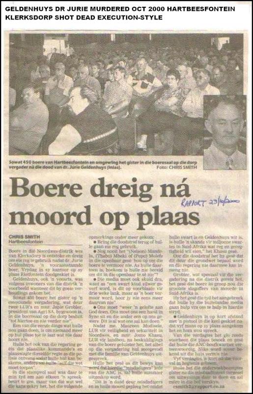 Geldenhuys Dr Jurie Oct2000 murder Hartbeesfontein NW shot dead