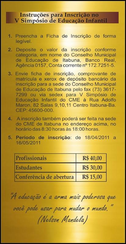 Instruções para Inscrição no V Simpósio de Educaçao Infantil
