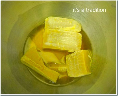 Deseret Lotion Bar - Melting beeswax