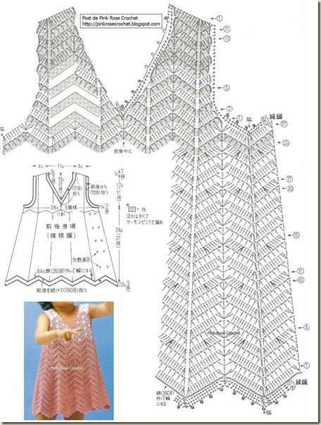 Vestido Crochet Toddler Dress . Gr . PinkRose