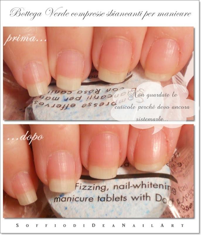 Bottega Verde compresse sbiancanti manicure prima-dopo