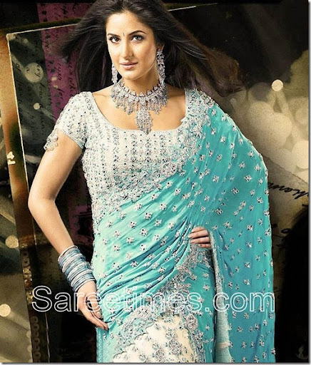 Bollywood and South Indian actress Katrina Kaif in green embroidery bridal