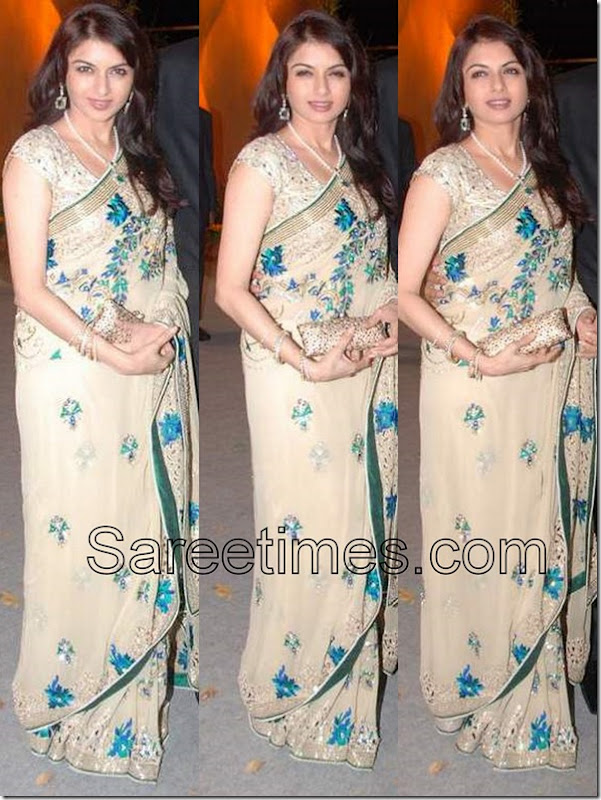 Bhagya_Shree_Cream_Saree