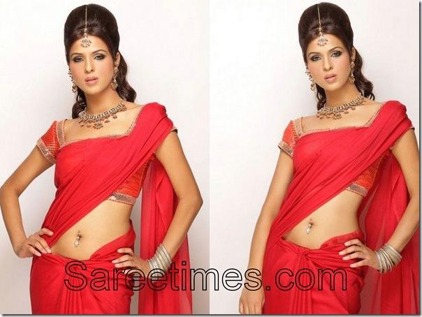 Priyanka_Chaudhary_Red_Saree