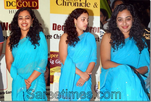 Nithya_Menon_Blue_Saree