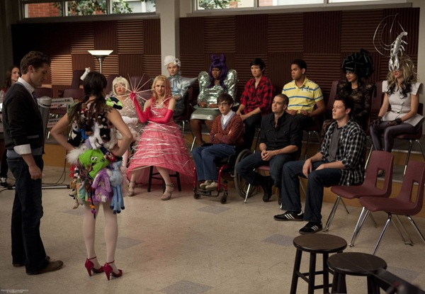 "GLEE: The glee club is not impressed with Rachel's (Lea Michele, second from L) outfit as Lady Gaga's homage in the ""Theatricality"" episode of GLEE airing Tuesday, May 25 (9:00-10:00 PM ET/PT) on FOX. Pictured L-R: Matthew Morrison, Lea Michele, Jenna Ushkowitz, Dianna Agron, Chris Colfer, Amber Riley, Kevin McHale, Harry Shum Jr., Mark Salling, Dijon Talton, Naya Rivera, Cory Monteith and Heather Morris. ©2010 Fox Broadcasting Co. CR: Adam Rose/FOX"