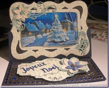 """carte chevalet 3D Noël """"bleu"""""""