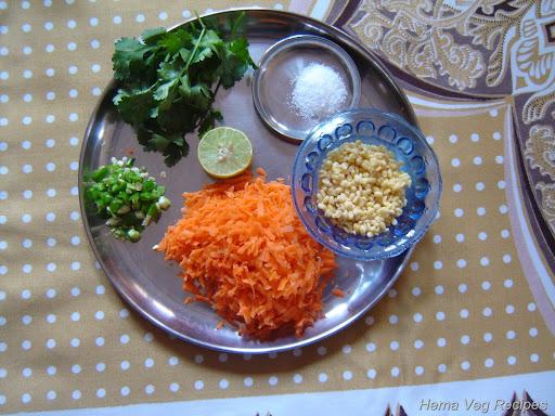 Carrot Kosambari Salad Ingredients