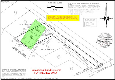 Oakland Drive Survey, occupation lines in green