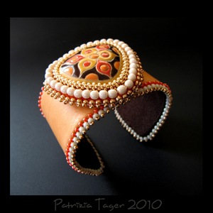 Trillium - Orange Leather Cuff 01 copy