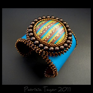 Naftali turquoise & brown - Leather Cuff 01 copy
