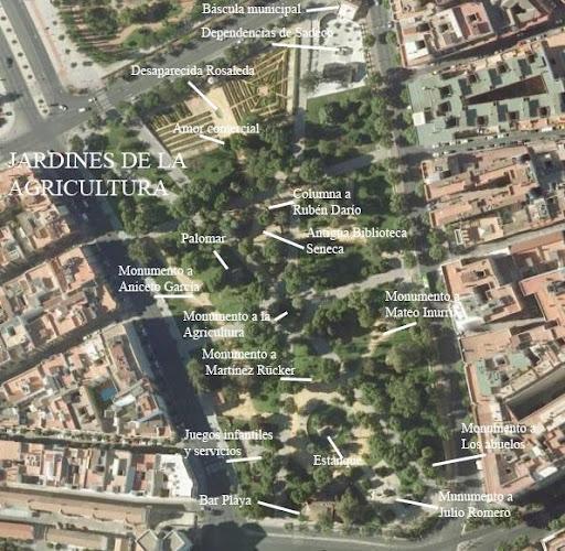 Vista aérea de los Jardines de la Agricultura.