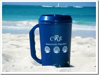 mug in sand