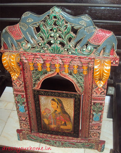 A traditional colorful carved piece