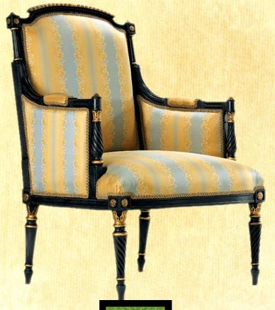 Antique Blue and Gold Leaf arm chair
