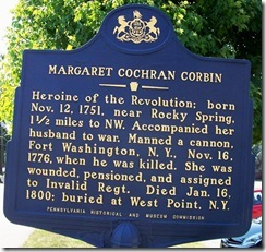 Margaret Cochran Corbin Marker (Click to Enlarge)