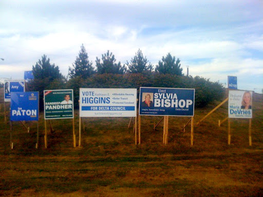 Delta Election Signs on the Corner of Ladner Trunk and Highway 17