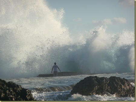 Secluded beach at the blowholes